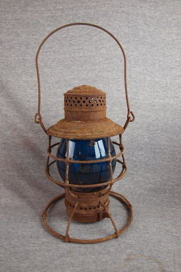 Westlake railroad lantern with   cobalt blue etched glo