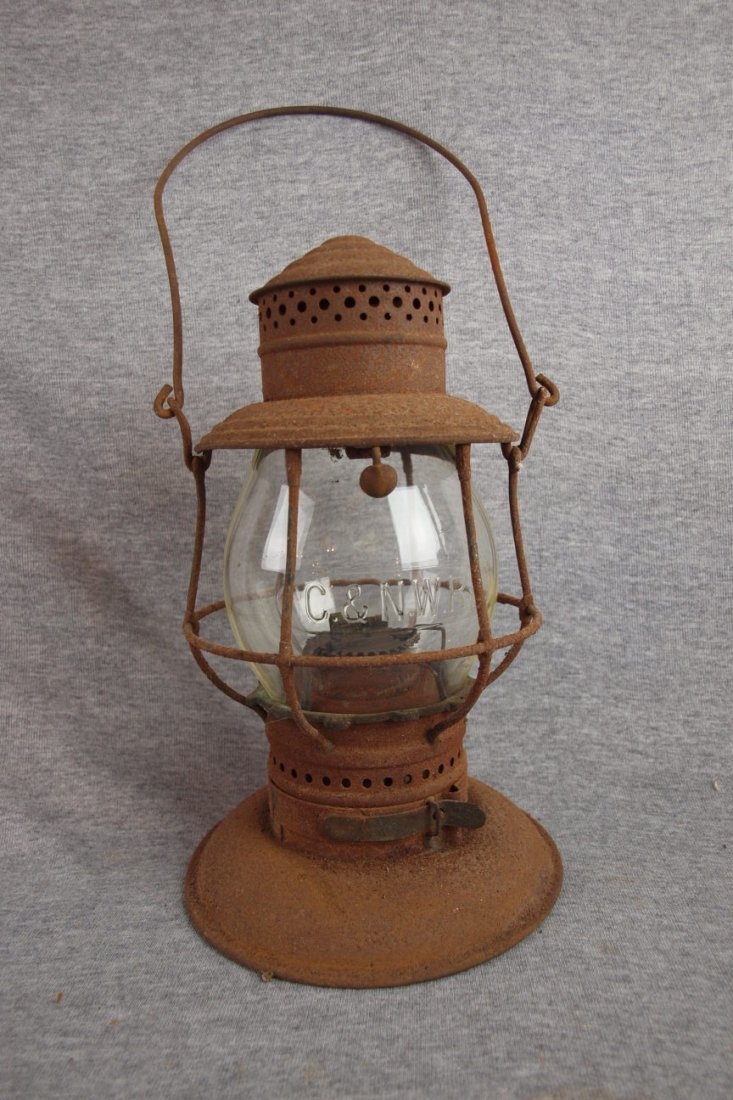 """Railroad lantern with clear   embossed globe """"C&NWRy"""""""