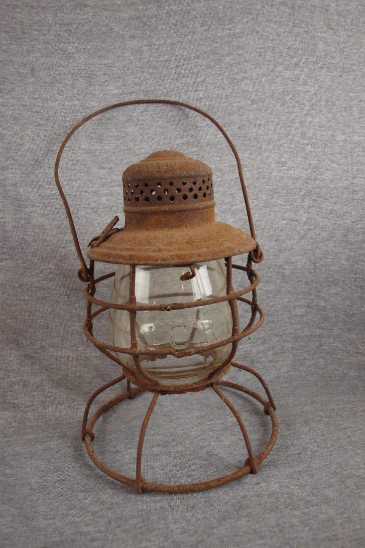 """Railroad lantern, no burner,   clear embossed globe """"IC"""