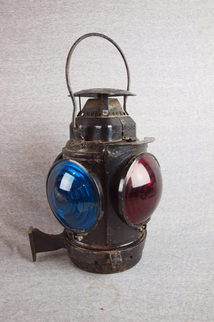 Adlake 4 light railroad   lantern with 3 red and 1 blue