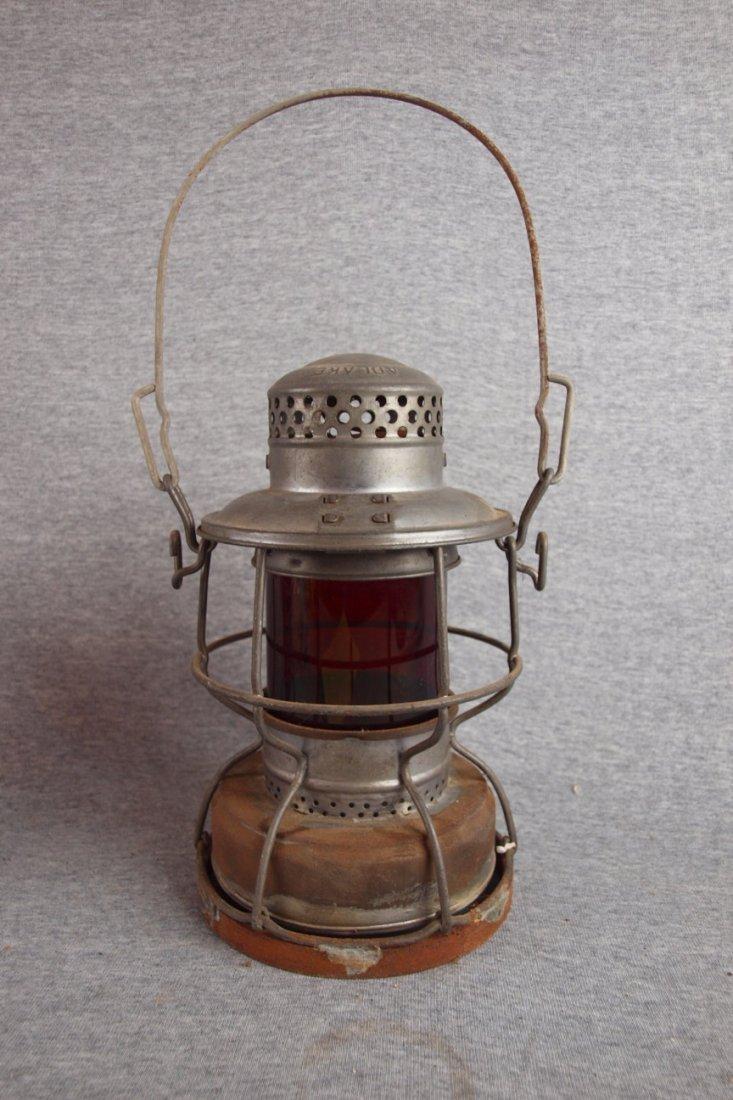 Adlake railroad lantern with   red globe