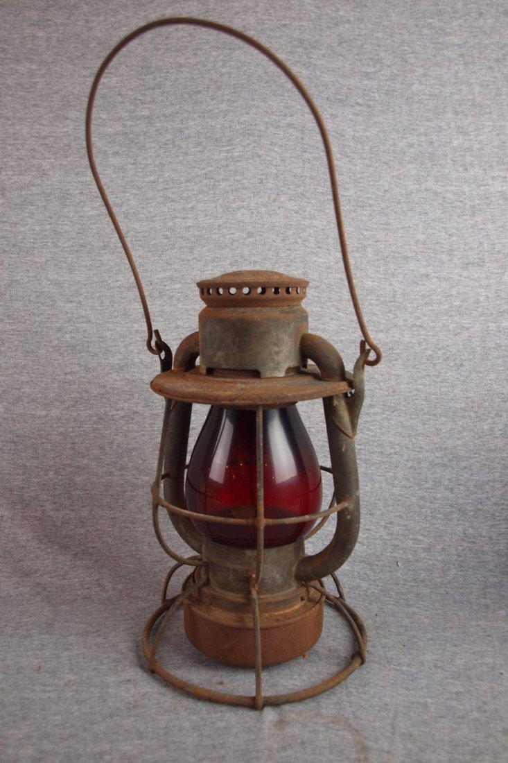 Dietz railroad lantern with   red globe
