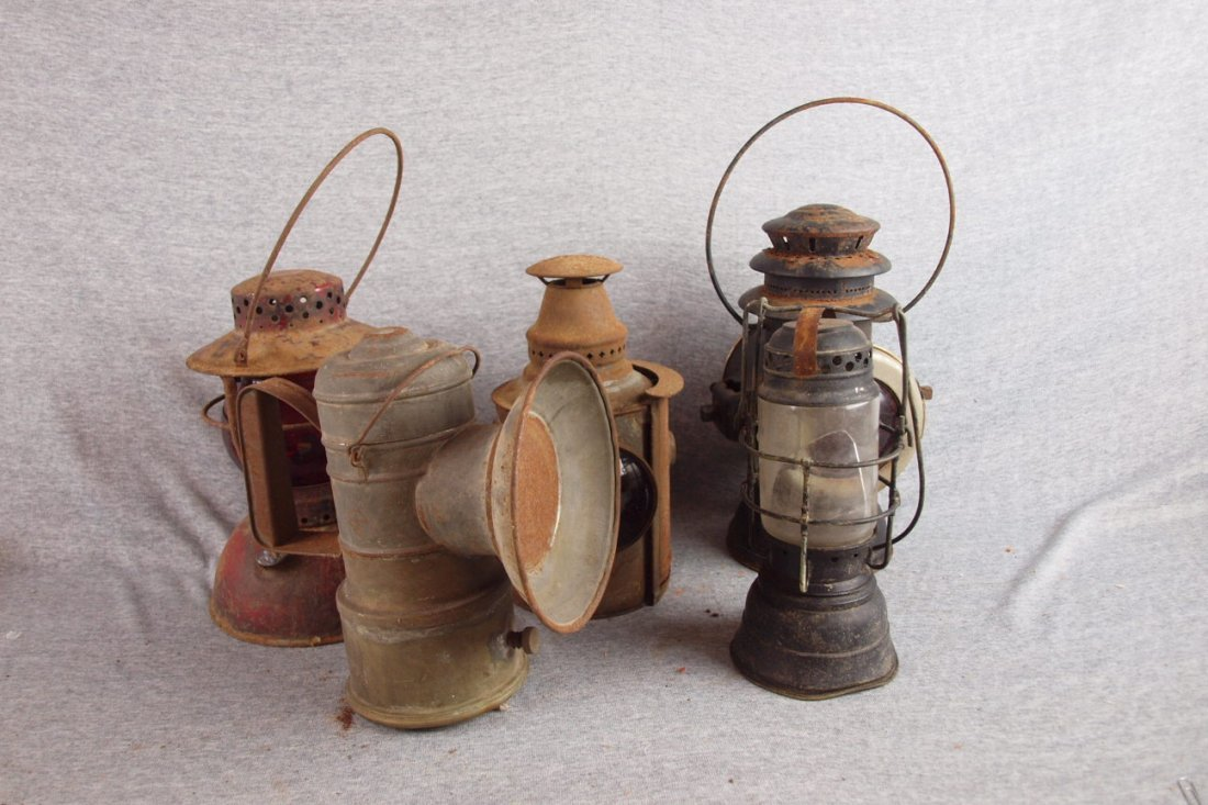 Lot of 5 railroad lanterns,   various condition