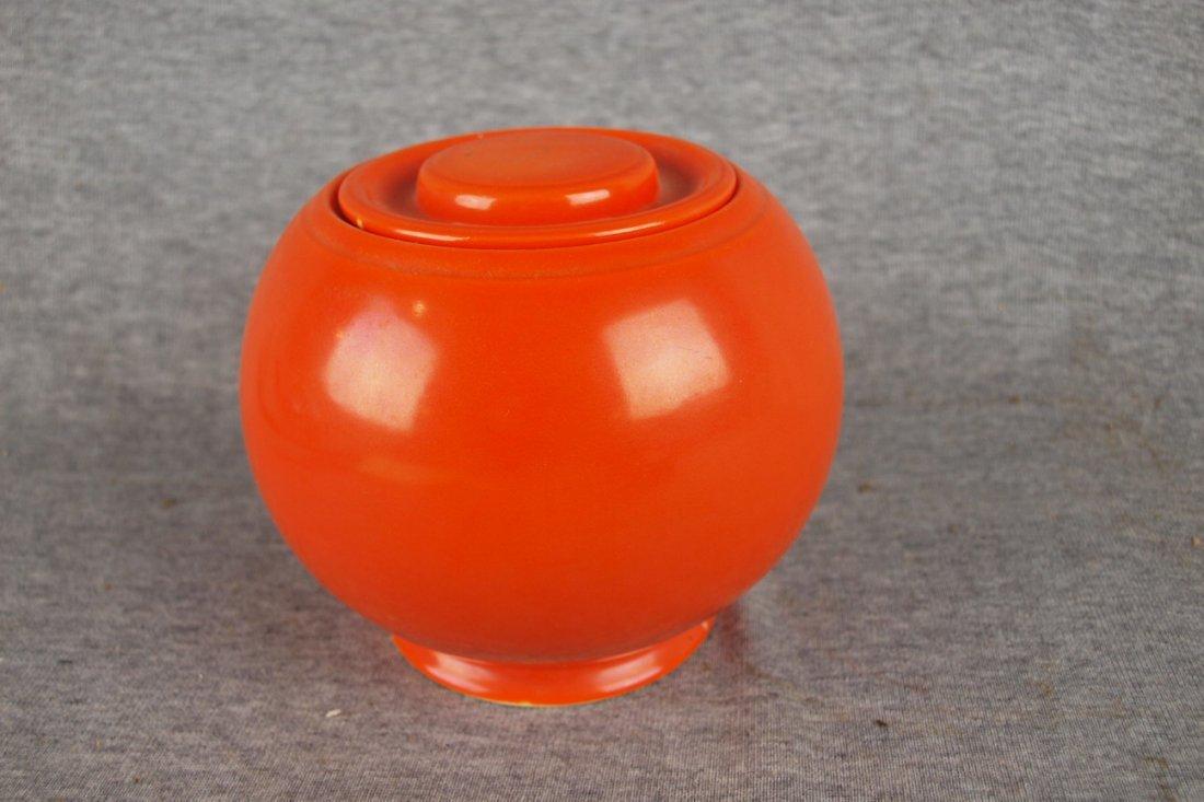FIESTA KITCHEN KRAFT SMALL RED COVERED JAR, NICK TO BA
