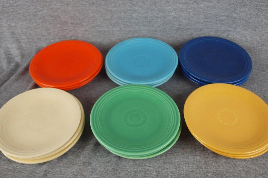 "Fiesta 6"" plate group, 3 each orginal 6 colors - red,"