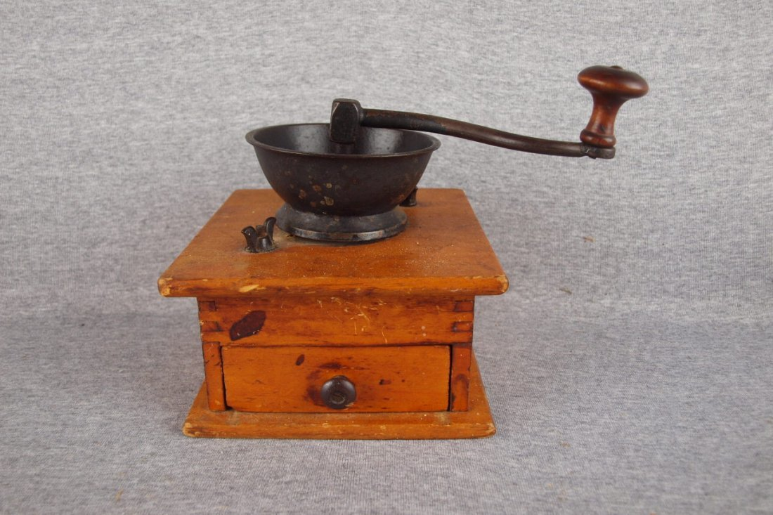 Wooden coffee grinder with   drawer