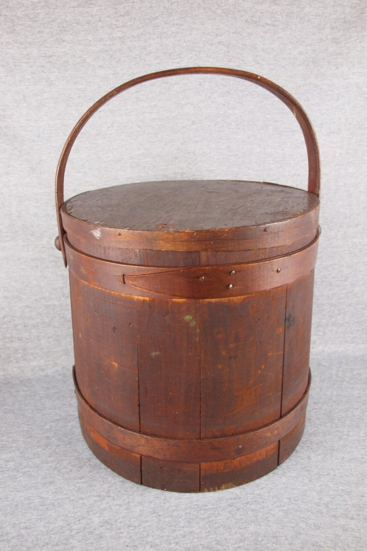 """Early wooden sugar pail with   lid, 12""""h"""