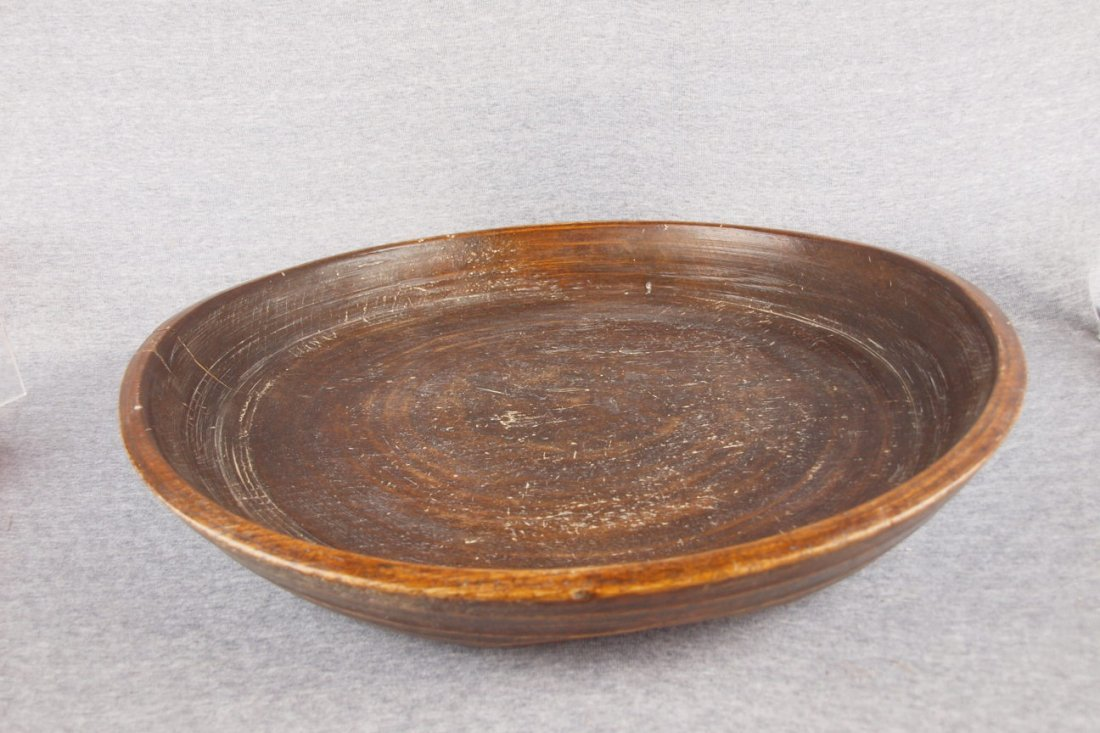 """Early wooden treen ware bowl,   22""""d, 4""""h"""
