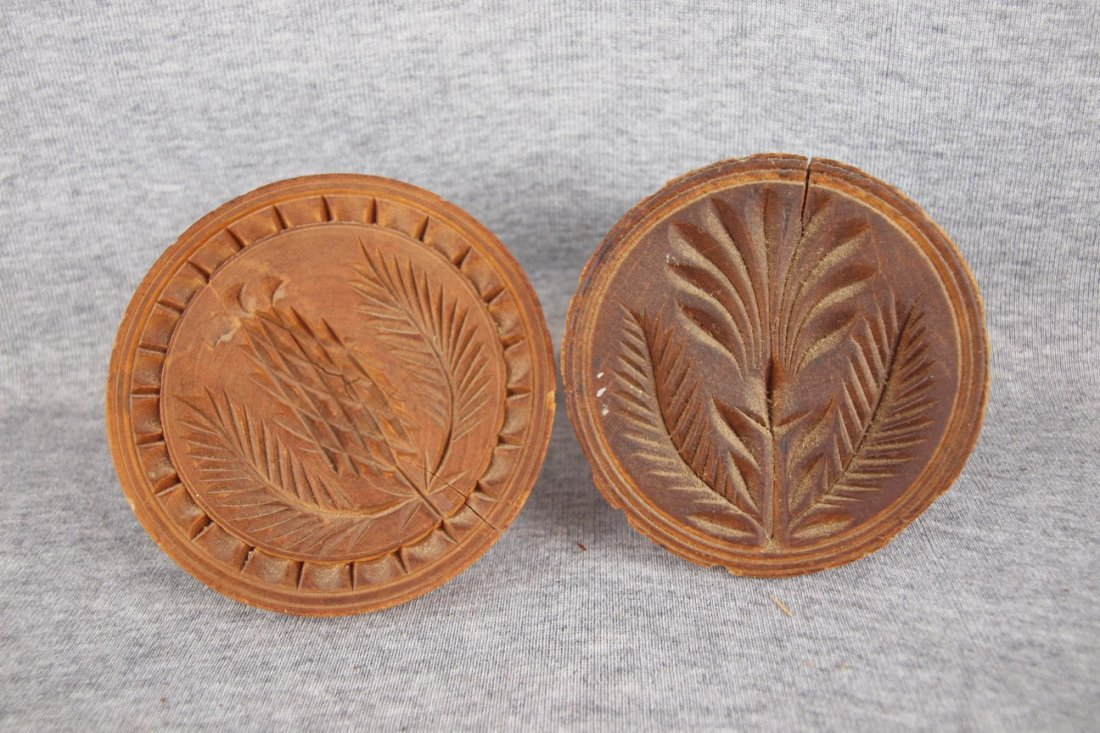 Lot of 2 early wooden butter   prints/pats