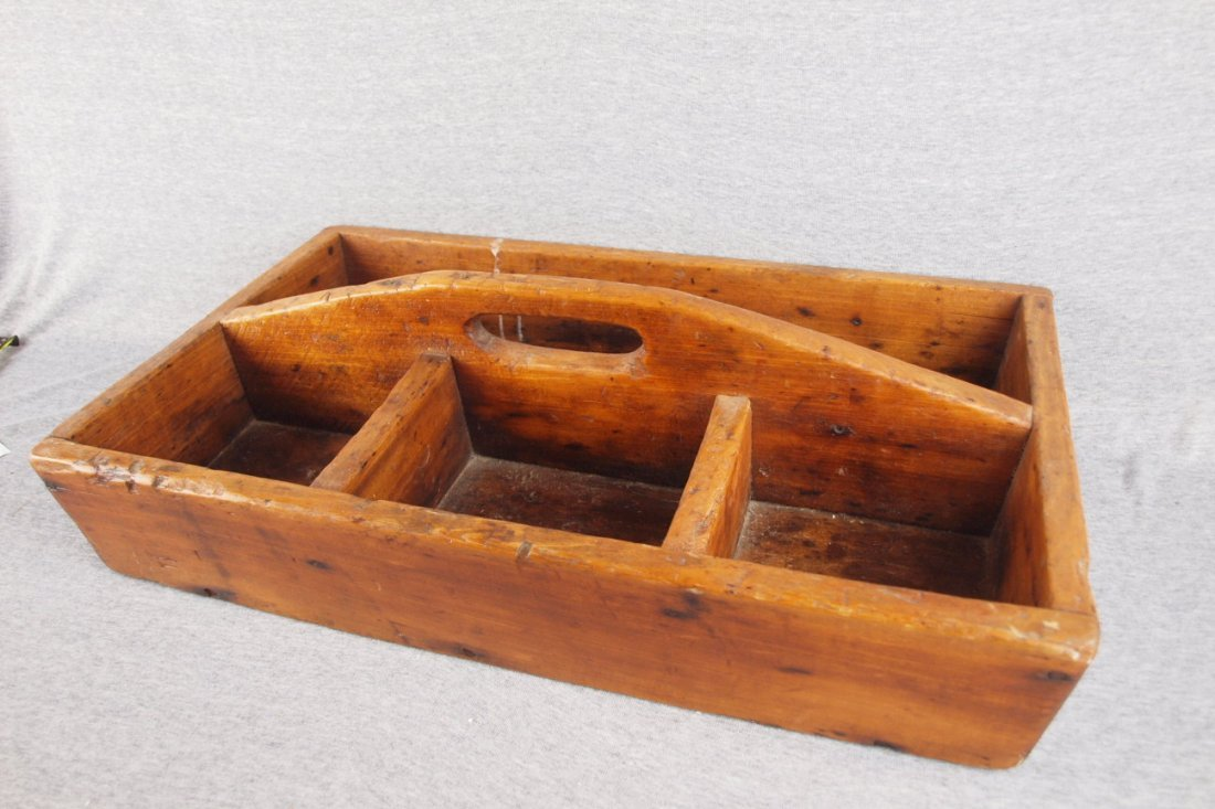 """Early wooden tool tote with   four compartments, 24"""" x"""