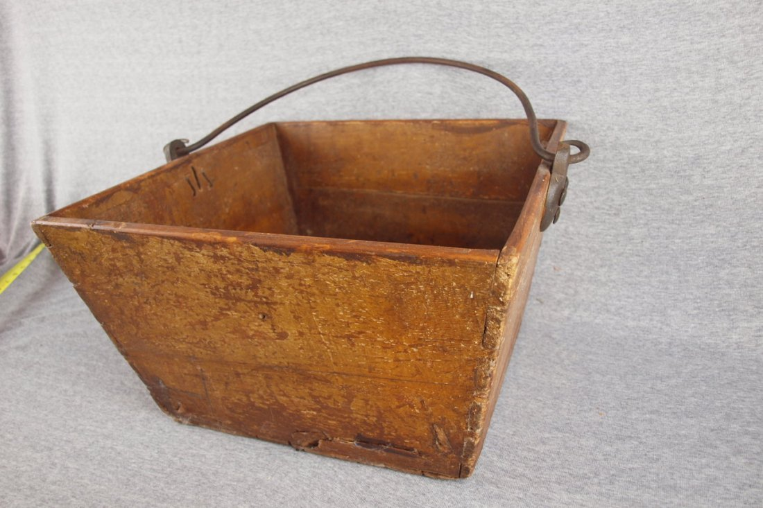 """Wooden square bucket with   iron bail handle, 15""""w, 8"""
