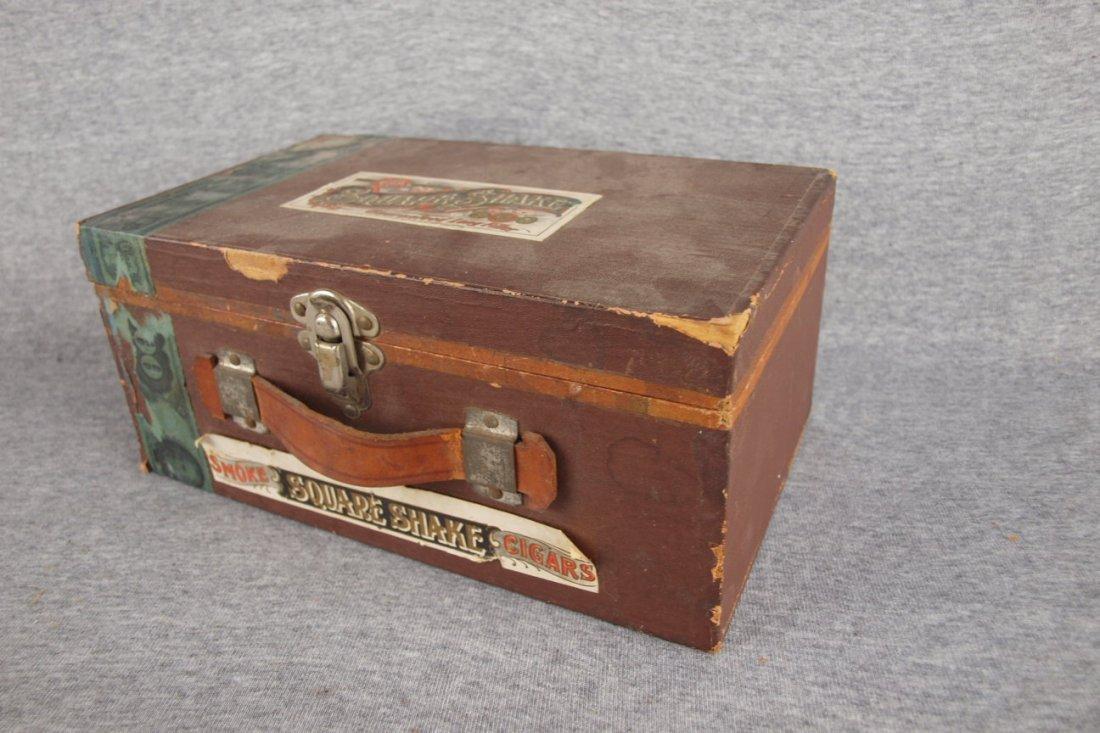 "Wooden cigar box, ""Square   Shake"", 10 1/2""w"
