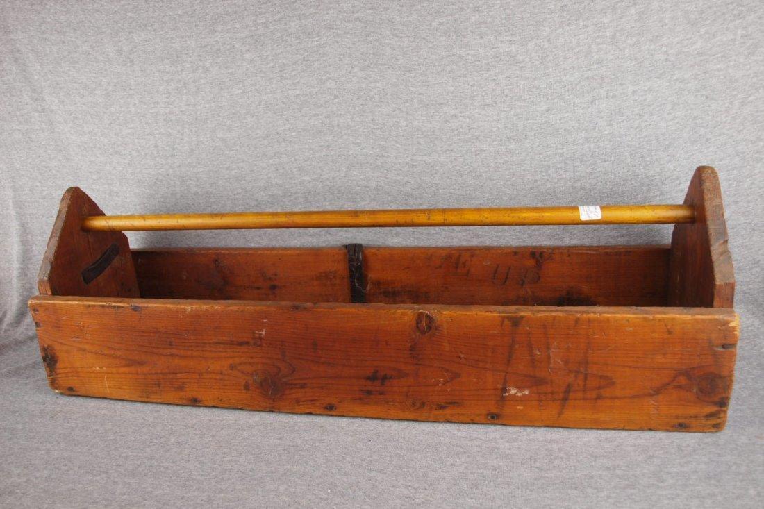 """Wooden primitive tool tote,   35""""l"""