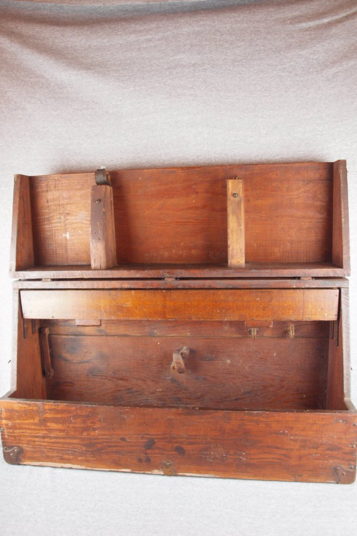 Early wooden carpenter's tool   cabinet with drawers,