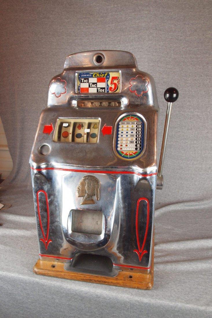 1946 Jennings Chief Tic Tac   Toe 5 cent slot machine