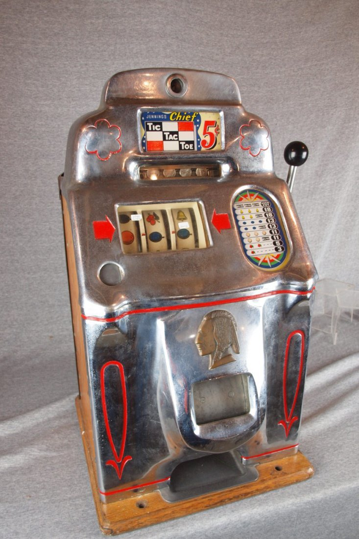 1946 Jennings Chief Tic Tac   Toe 5 cent slot machine - 2
