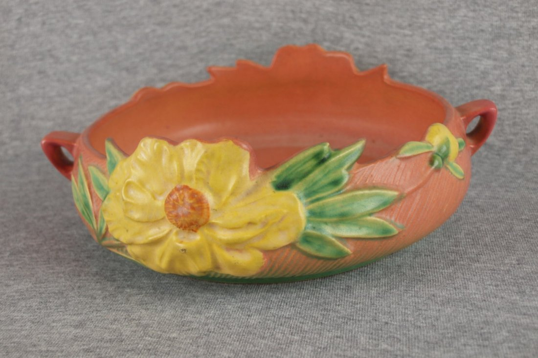 """Roseville pink Peony console   bowl, 1128-8"""""""