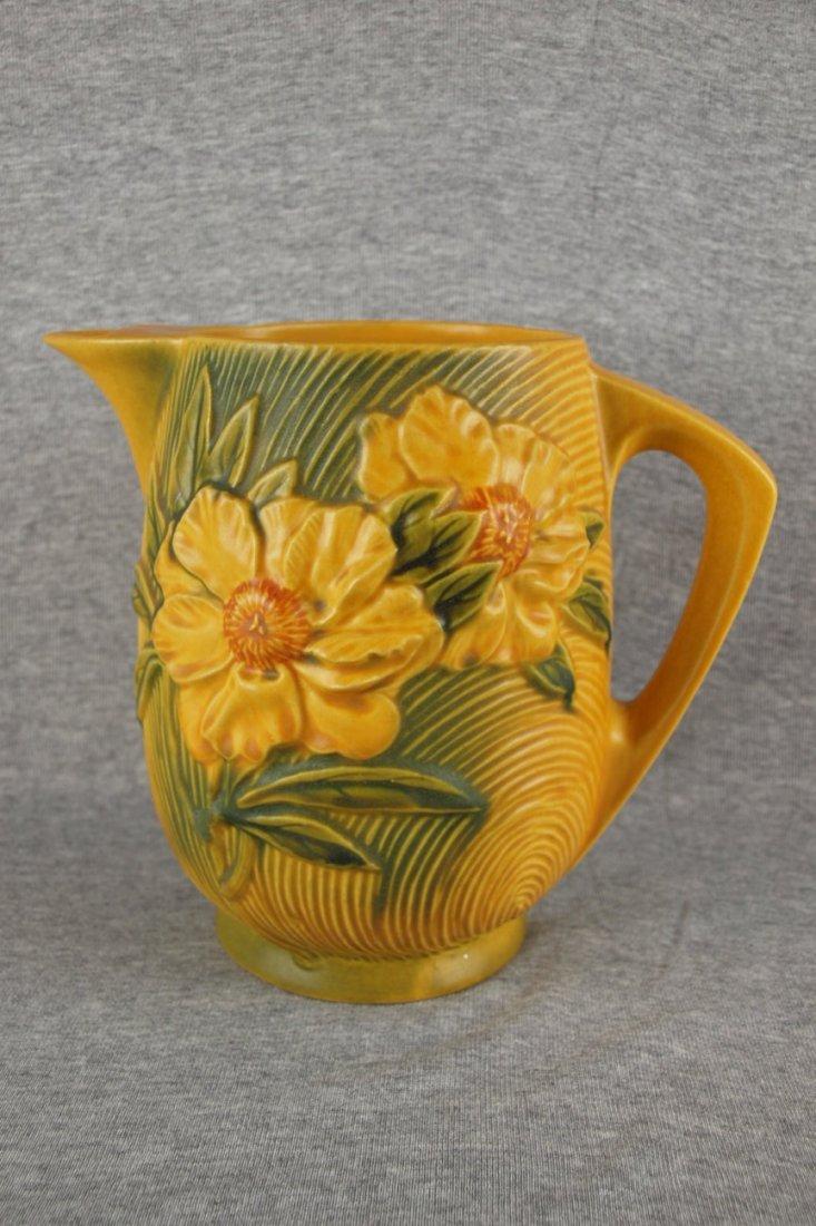 Roseville yellow Peony   lemonade pitcher, scarce,  13