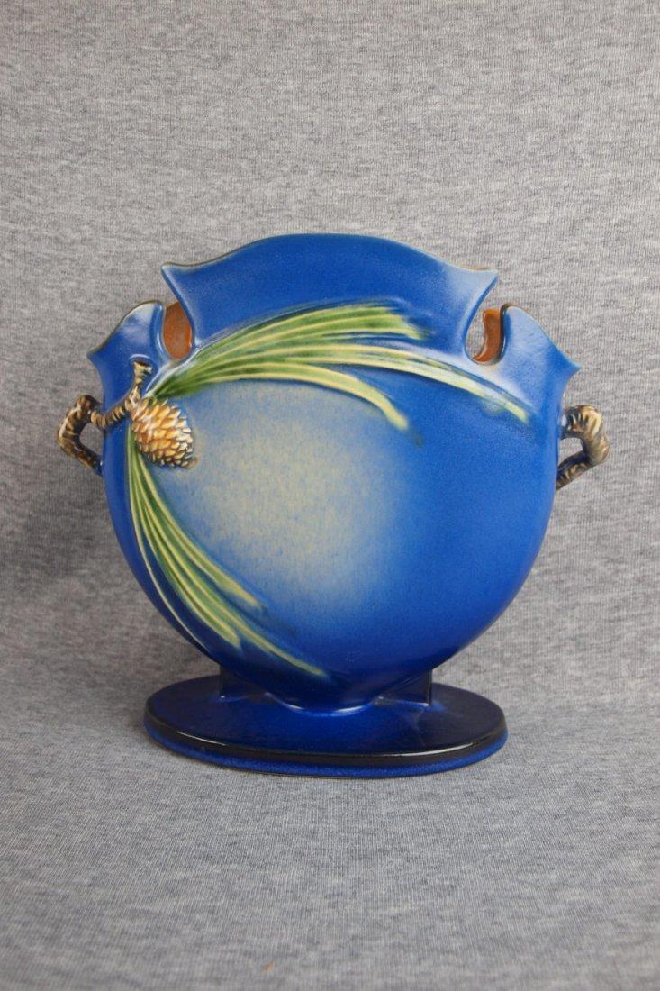 Roseville blue Pinecone pillow  vase, 845-8