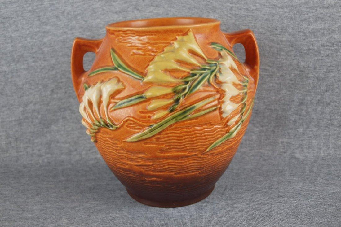 """Roseville brown Freesia vase,   4-8"""""""