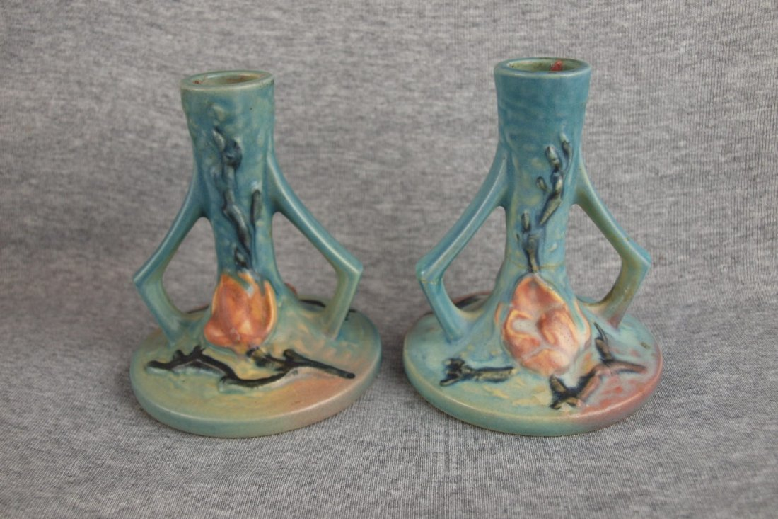 Roseville blue Magnolia pair   of tall candle holders,