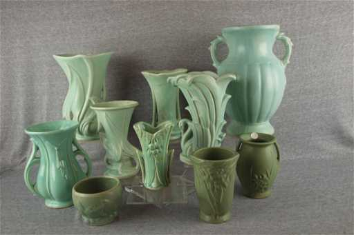 Mccoy Pottery Lot Of 10 Green Vases