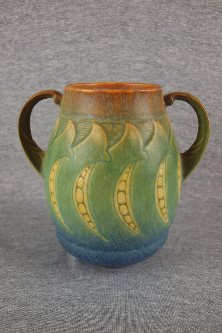 "Roseville Falline two handled   vase, 7"", nick to hand"