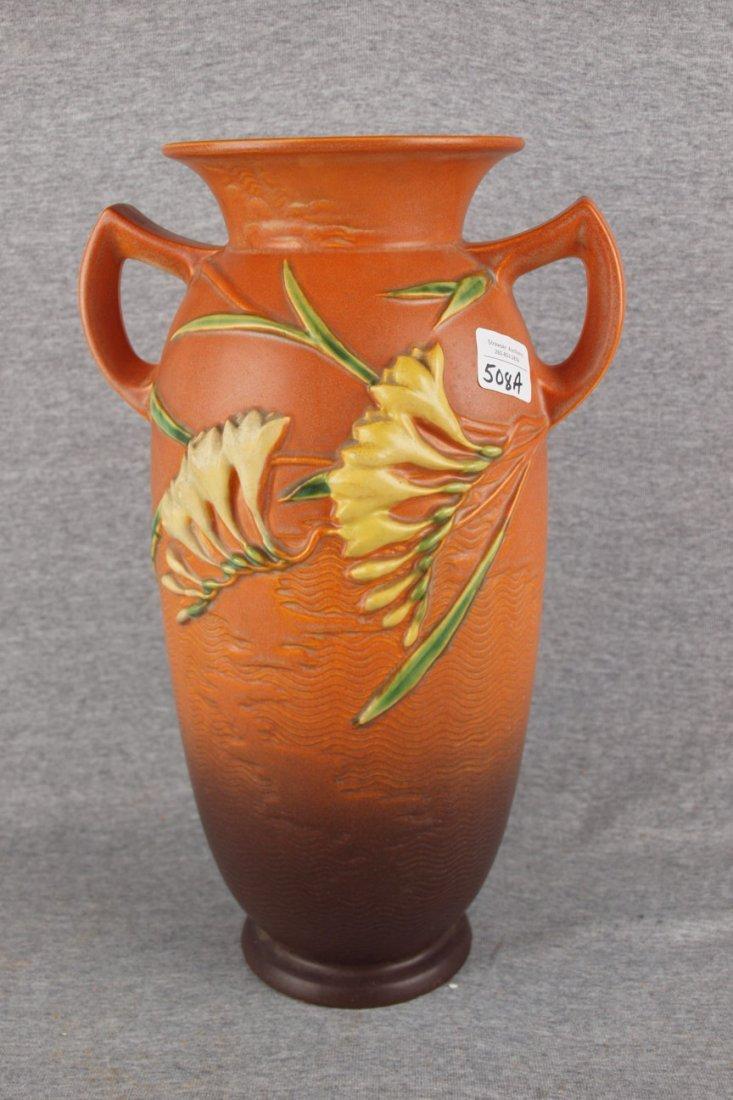 """Roseville brown Freesia floor vase, 128-15"""""""