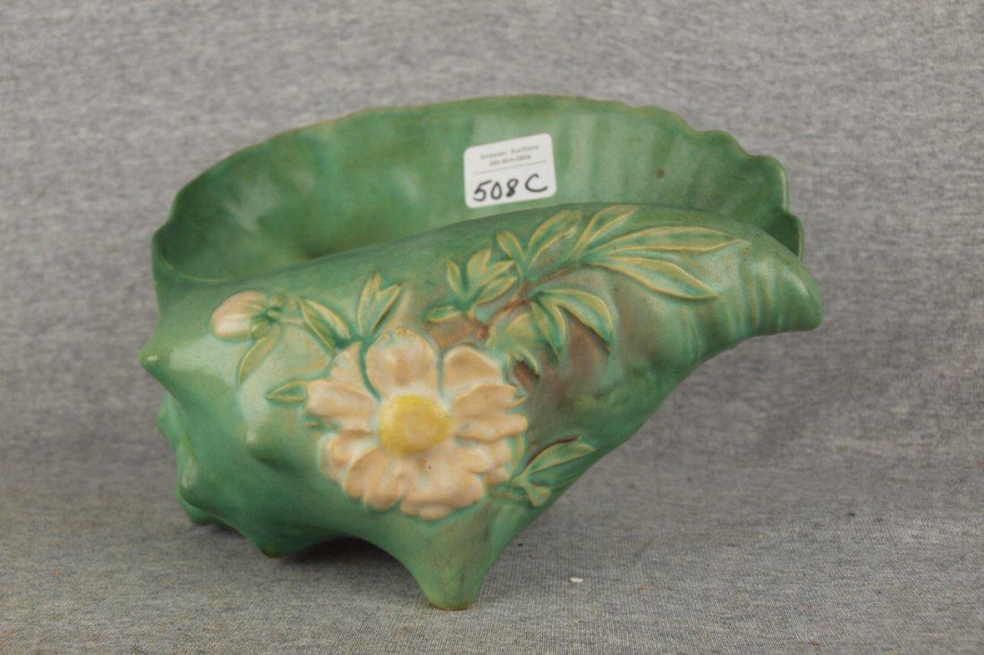 Roseville green Peony shell vase, #436