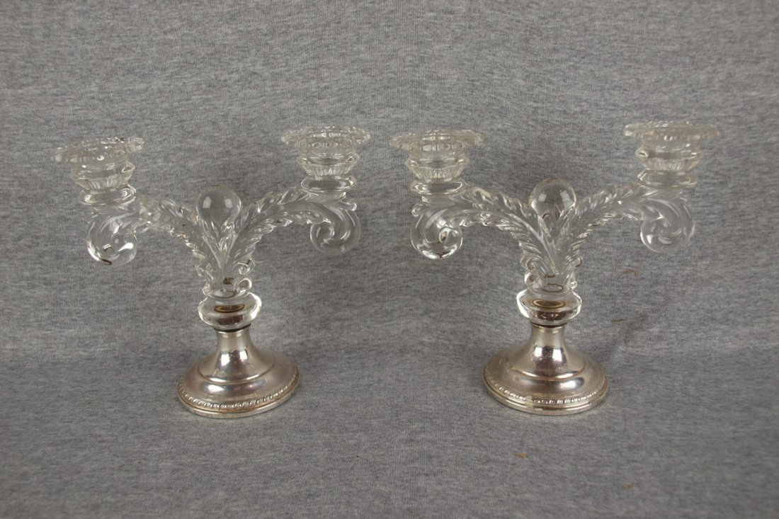 Fostoria pair of 2 like candle  holders with sterling b