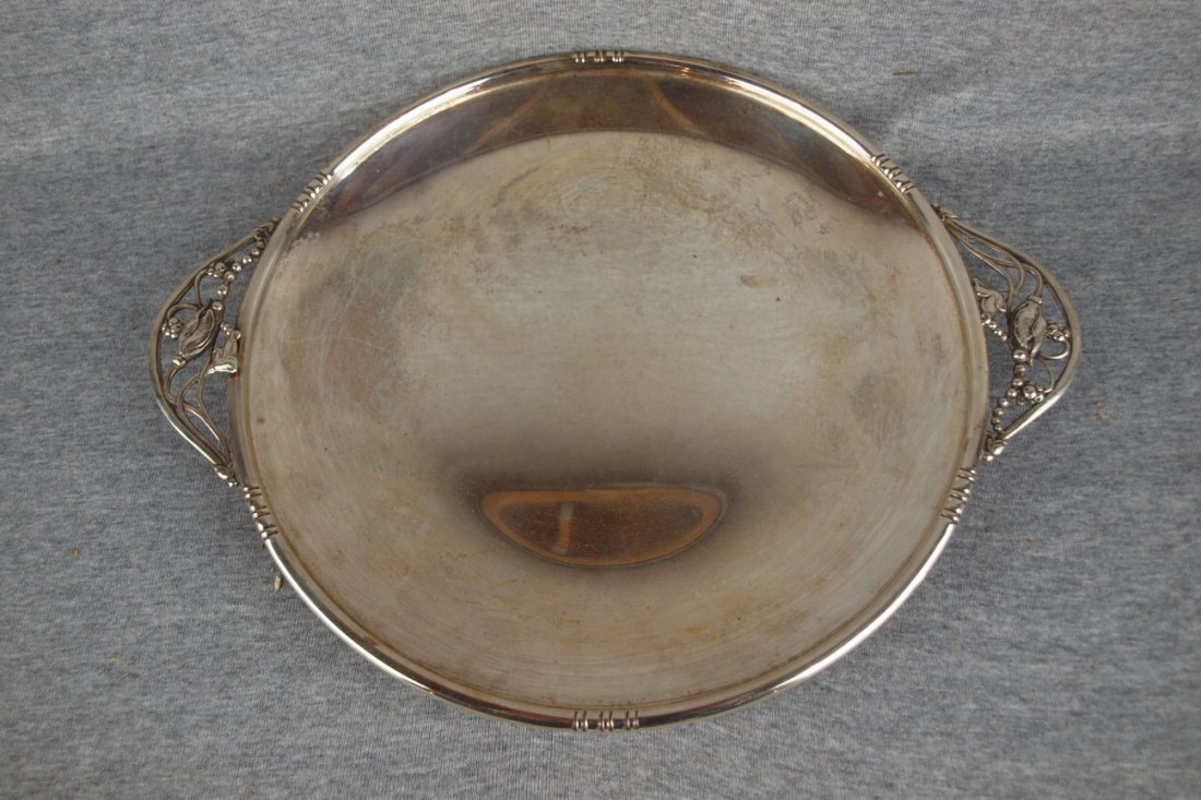 Sterling silver tray with   floral handles, 21 oz