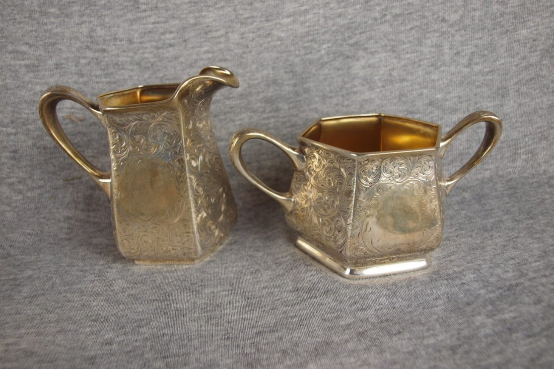 Sterling silver cream and   sugar, gold wash interior,