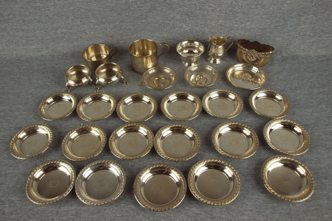 Sterling silver lot of   coasters and miniatures, 27