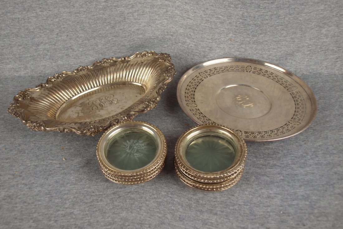 Sterling silver lot of 2 trays  and 8 sterling coaster