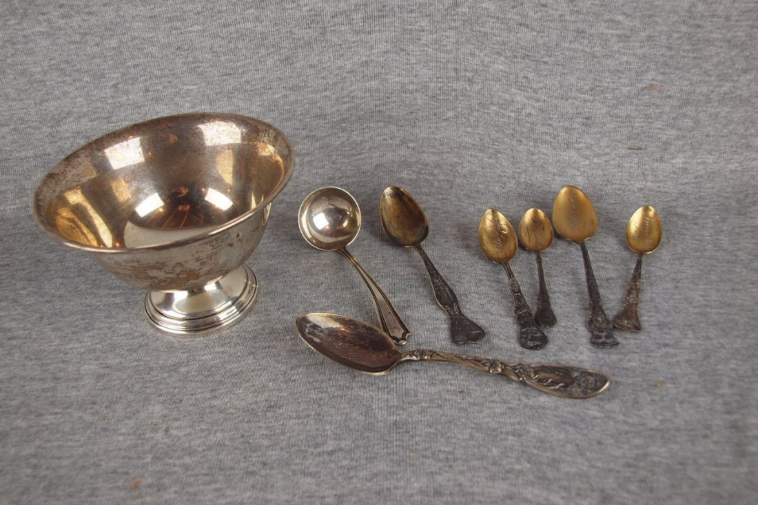 Sterling silver lot of 8   pieces - small compote, 3