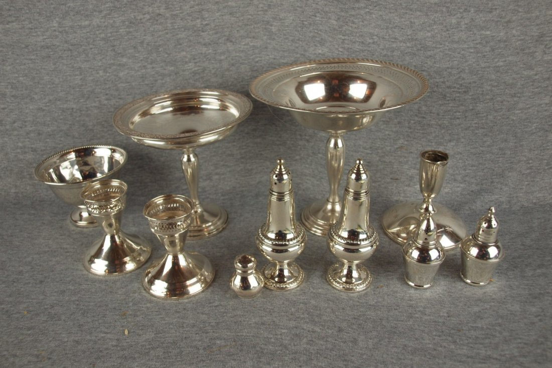 Sterling silver lot of 11   pieces - compotes, candle