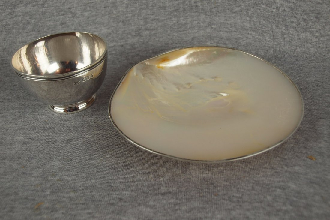 Cartier abalone tray with   sterling silver signed rim