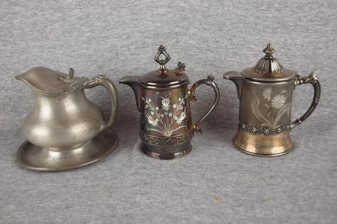 Lot of 3 syrup pitchers, 2   Pairpoint and one pewter