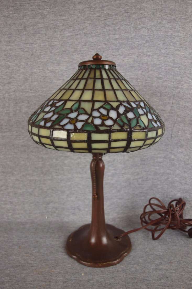 Handel boudoir lamp with   leaded glass dogwood patter