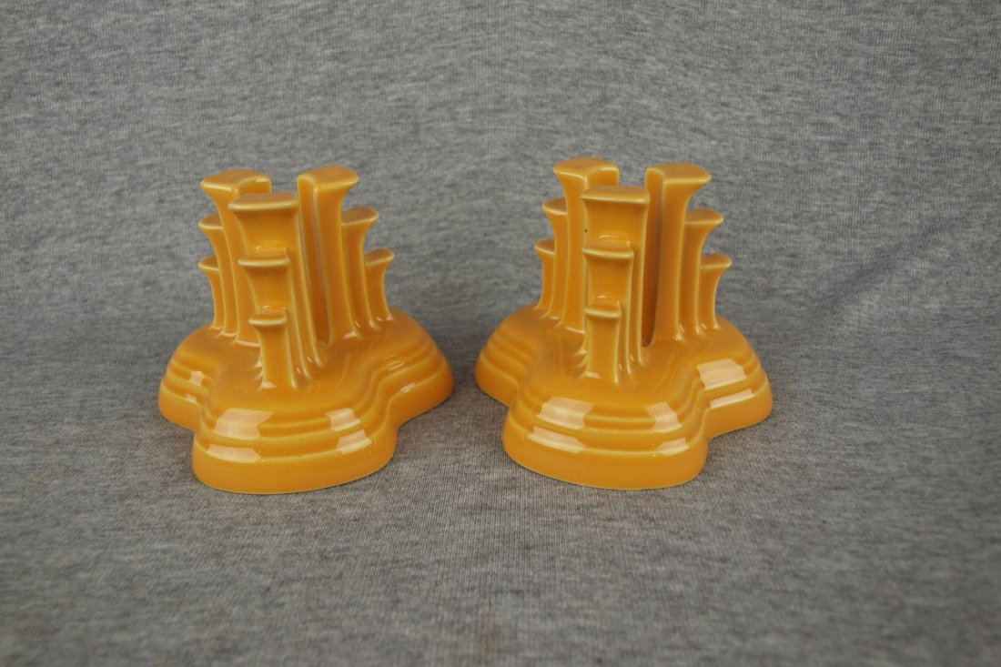 Fiesta Post 86 pyramid pair of candle holders, marigold