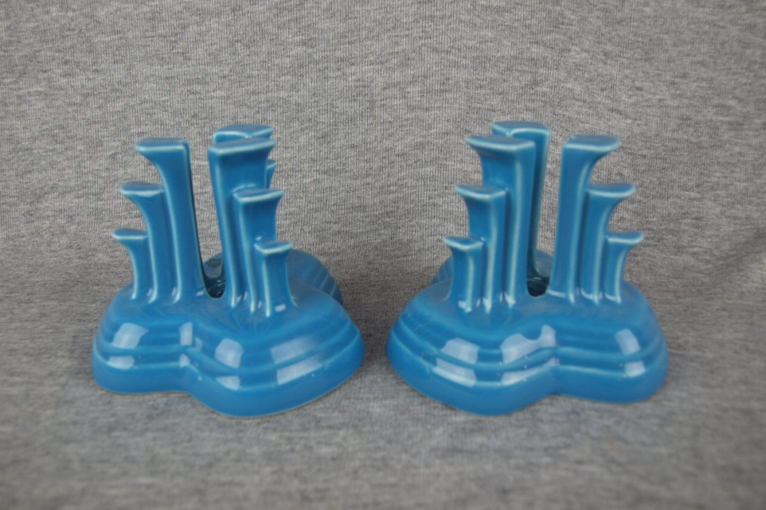 Fiesta Post 86 pyramid pair of candle holders, peacock