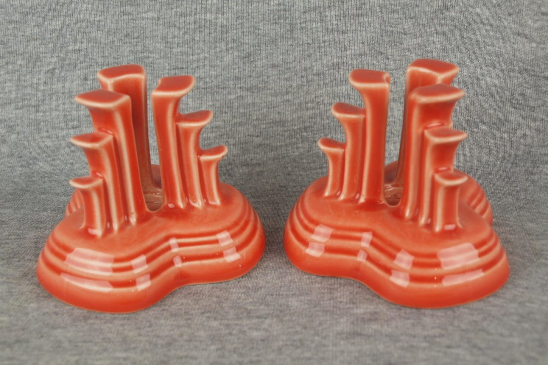 Fiesta Post 86 pyramid pair of candle holders, persimmo