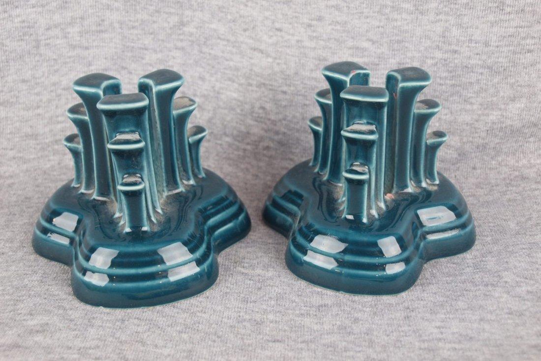 Fiesta Post 86 pyramid pair of candle holders, juniper