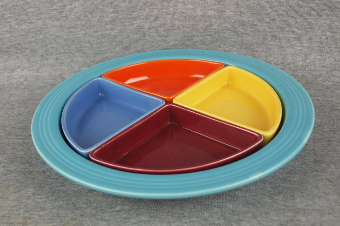 Fiesta Harlequin relish tray - turquoise tray, red, yel
