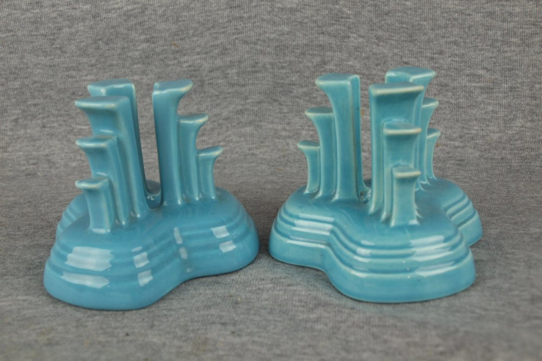 Fiesta pair of tripod candles, turquoise