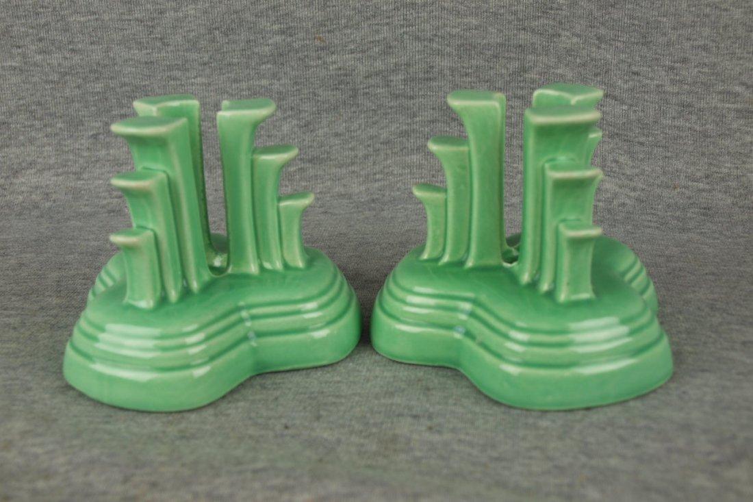 Fiesta pair of tripod candles, light green