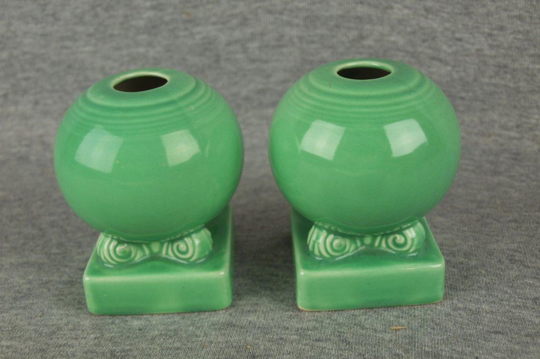 Fiesta pair of bulb candles, light green