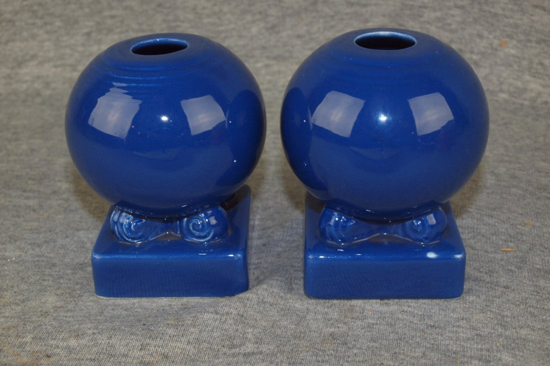Fiesta pair of bulb candles, cobalt