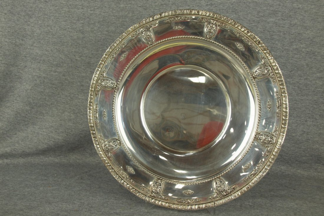 Wallace Rose Point sterling silver tray, #5274, 18.5 oz
