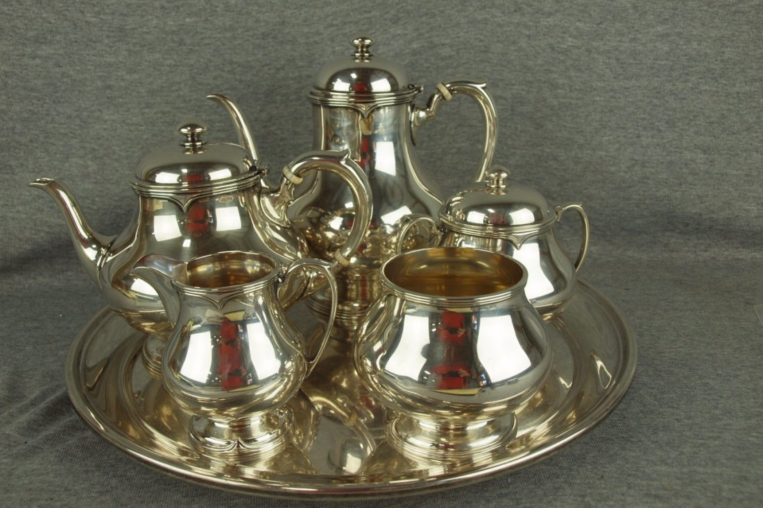 Sterling silver 6 piece tea service with tray, coffee